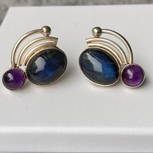 Vintage Sterling Earrings with Cabachons